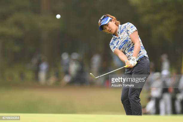 Misuzu Narita of Japan chips onto the 9th green during the final round of the World Ladies Championship Salonpas Cup at the Ibaraki Golf Club on May...