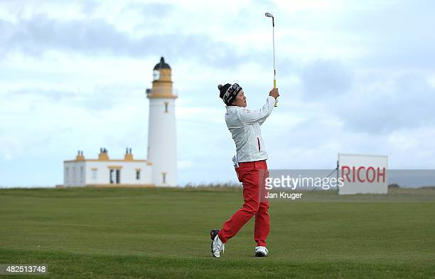 Misuzu Narita of Japan hits her 2nd shot on the 10th holeduring the Second Round of the Ricoh Women's British Open at Turnberry Golf Club on July 31...