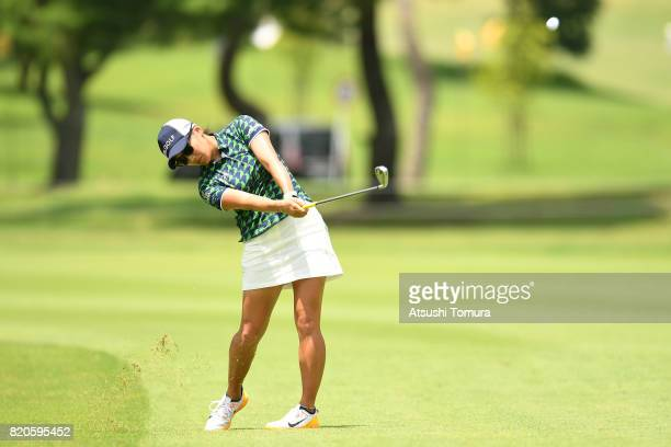 Misuzu Narita of Japan hits her second shot on the 9th hole during the second round of the Century 21 Ladies Golf Tournament 2017 at the Seta Golf...