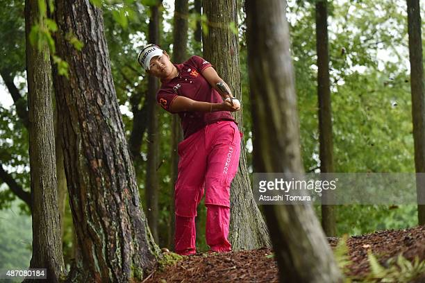Misuzu Narita of Japan hits her second shot on the fifth playoff hole during the final round of the Golf 5 Ladies Tournament 2015 at the Mizunami...