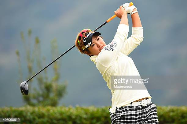Misuzu Narita of Japan hits her tee shot on the 12th hole during the second round of the TOTO Japan Classics 2015 at the Kintetsu Kashikojima Country...