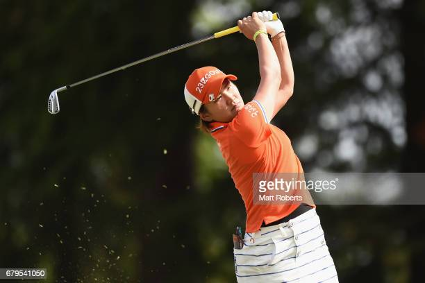 Misuzu Narita of Japan hits her tee shot on the 13th hole during the third round of the World Ladies Championship Salonpas Cup at the Ibaraki Golf...