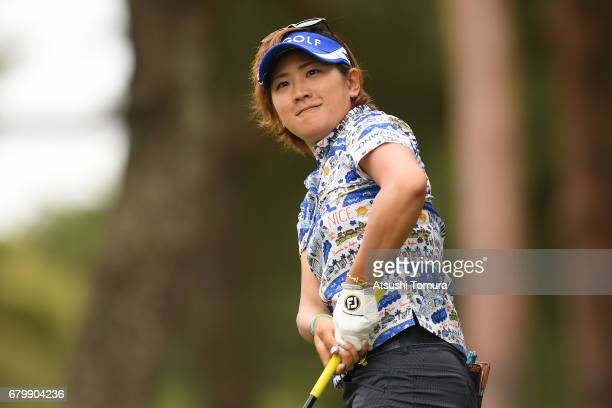 Misuzu Narita of Japan hits her tee shot on the 2nd hole during the final round of the World Ladies Championship Salonpas Cup at the Ibaraki Golf...