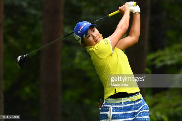 Misuzu Narita of Japan hits her tee shot on the 3rd hole during the third round of the Daito Kentaku Eheyanet Ladies 2017 at the Narusawa Golf Club...