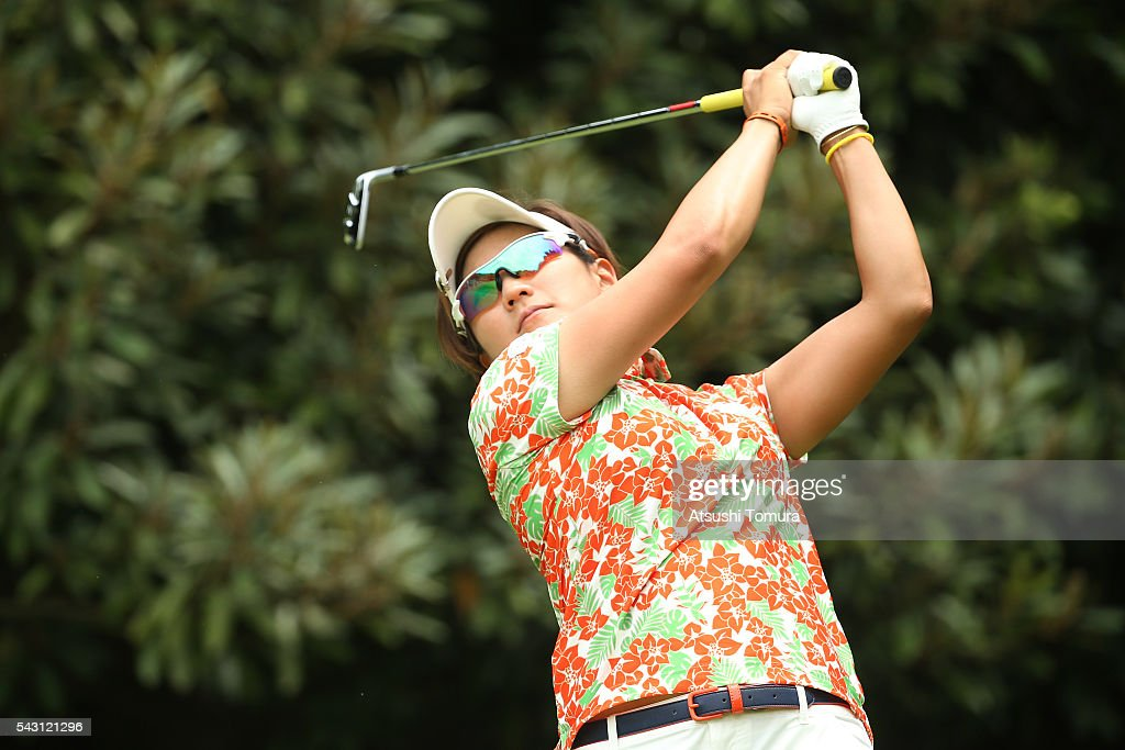 <a gi-track='captionPersonalityLinkClicked' href=/galleries/search?phrase=Misuzu+Narita&family=editorial&specificpeople=9567982 ng-click='$event.stopPropagation()'>Misuzu Narita</a> of Japan hits her tee shot on the 4th hole during the final round of the Earth Mondamin Cup at the Camellia Hills Country Club on June 25, 2016 in Sodegaura, Japan.
