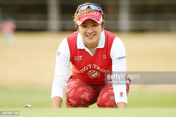 Misuzu Narita of Japan lines up her birdie putt on the 18th green during the second round of the Daio Paper Elleair Ladies Open 2015 at the...