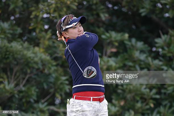 Misuzu Narita of Japan plays a tee shot on the 3rd hole during the final round of the LPGA Tour Championship Ricoh Cup 2015 at the Miyazaki Country...