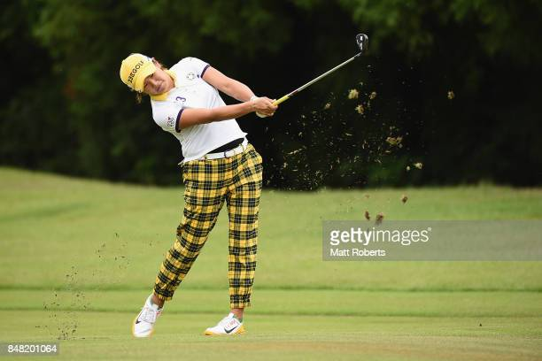 Misuzu Narita of Japan plays her approach shot on the 12th hole during the final round of the Munsingwear Ladies Tokai Classic 2017 at the Shin...
