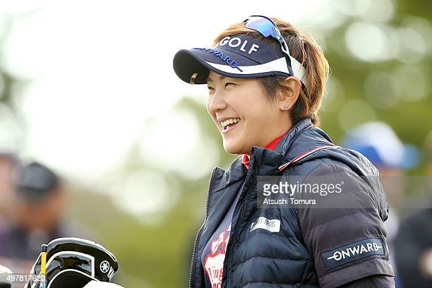 Misuzu Narita of Japan smiles during the first round of the Daio Paper Elleair Ladies Open 2015 at the Itsuurateien Country Club on November 19 2015...
