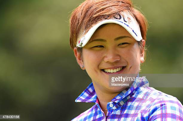 Misuzu Narita of Japan smiles during the first round of the Earth Mondamin Cup at the Camellia Hills Country Club on June 25 2015 in Sodegaura Japan