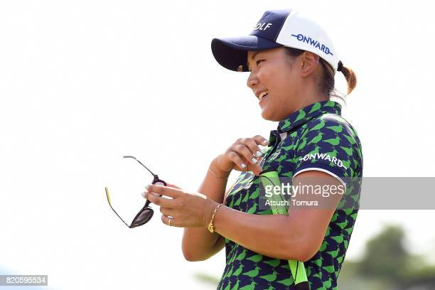 Misuzu Narita of Japan smiles during the second round of the Century 21 Ladies Golf Tournament 2017 at the Seta Golf Course on July 22 2017 in Otsu...