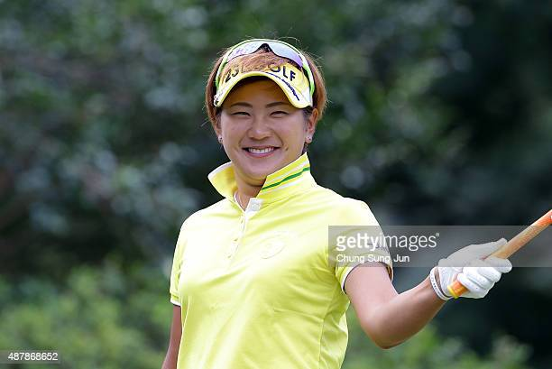 Misuzu Narita of Japan smiles on the third hole during the third round of the 48th LPGA Championship Konica Minolta Cup 2015 at the Passage Kinkai...