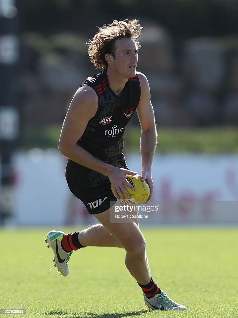 Mitch Brown of the Bombers controls the ball during an Essendon Bombers AFL training session at True Value Solar Centre on May 4, 2016 in Melbourne, Australia.