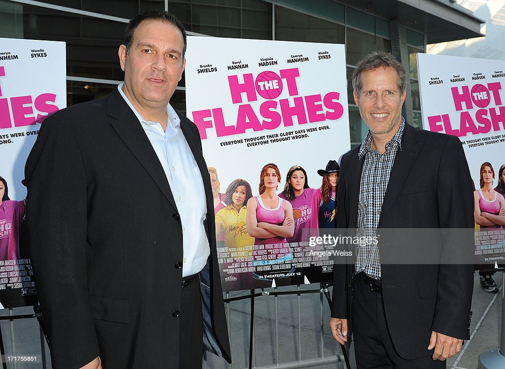 Mitch Budin (L) and Rich Goldberg arrive at the premiere of 'The Hot Flashes' at ArcLight Cinemas on June 27, 2013 in Hollywood, California.