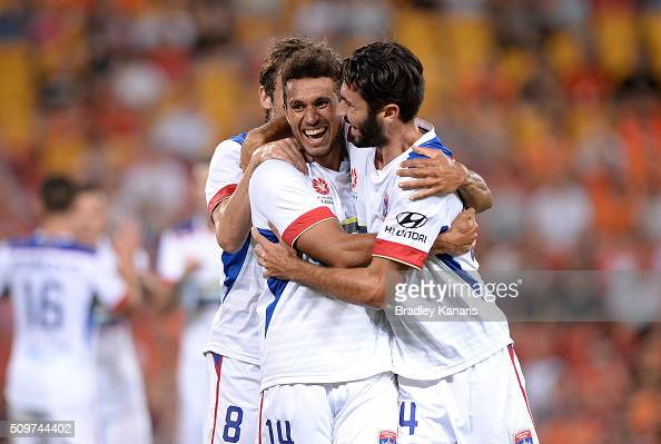 Mitch Cooper of the Jets celebrates scoring a goal during the round 19 ALeague match between the Brisbane Roar and the Newcastle Jets at Suncorp...