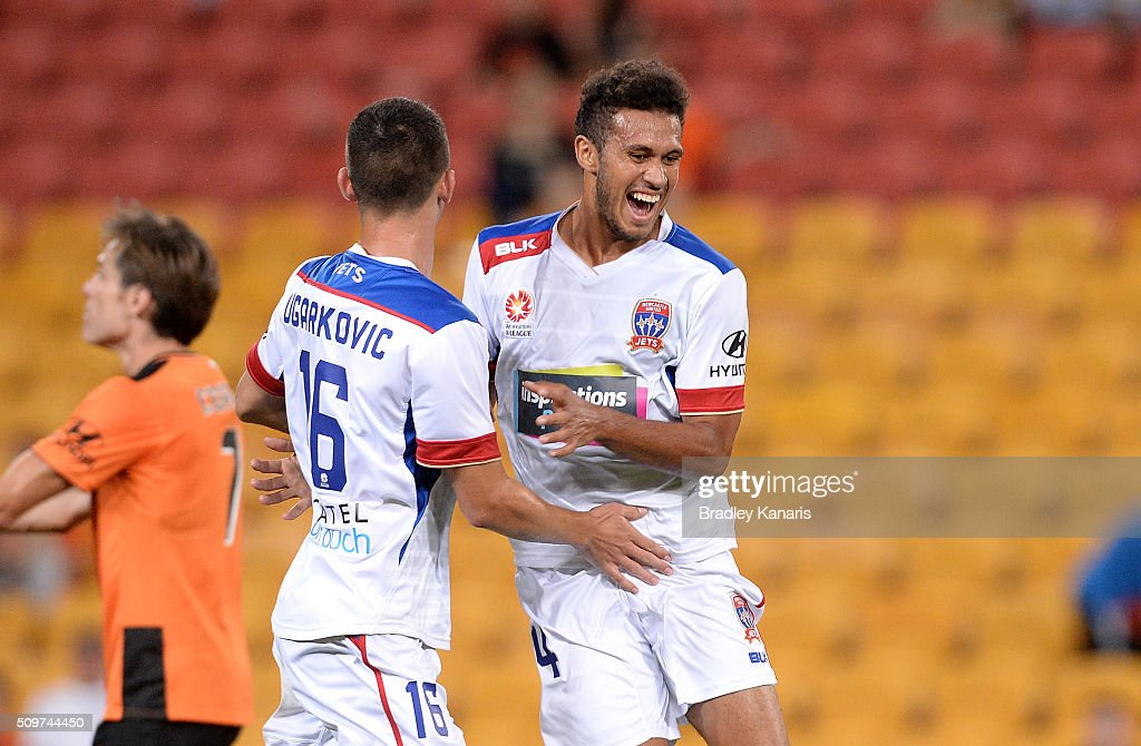 Mitch Cooper of the Jets celebrates scoring a goal during the round 19 A-League match between the Brisbane Roar and the Newcastle Jets at Suncorp Stadium on February 12, 2016 in Brisbane, Australia.