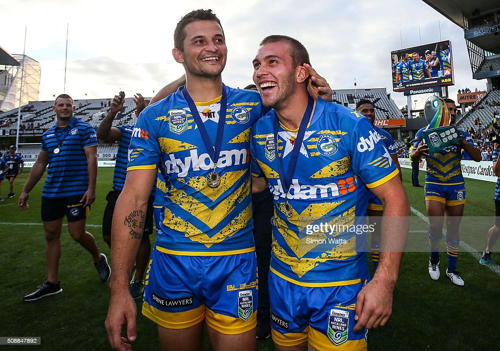 Mitch Cornish (R) and Luke Kelly of the Eels celebrate after winning the 2016 Auckland Nines Grand Final match between the Warriors and the Eels at Eden Park on February 7, 2016 in Auckland, New Zealand.