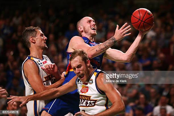 Mitch Creek of the Adelaide 36ers goes for the basket during the round 16 NBL match between the Adelaide 36ers and the Brisbane Bullets at Titanium...