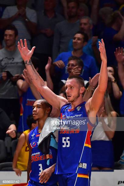 Mitch Creek of the Adelaide 36ers reacts after the final siren during the game one NBL Semi Final between Adelaide and Illawarra at Titanium Security...