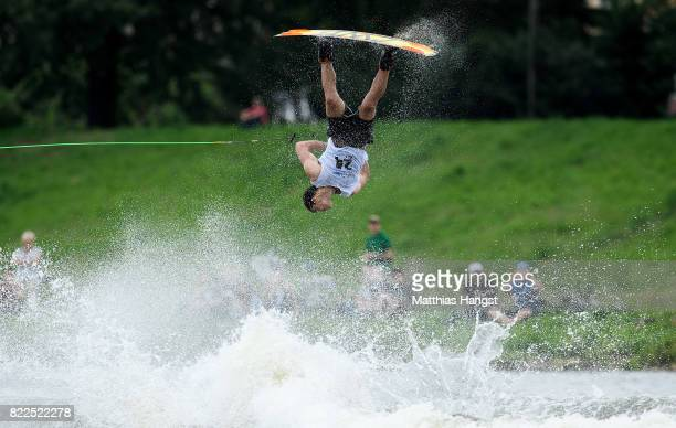 Mitch Daniel of Australia competes during the Wakeboard Freestyle Men's Quarterfinal of The World Games at Old Odra River on July 25 2017 in Wroclaw...