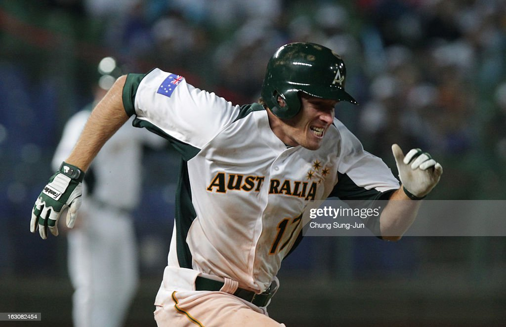 Mitch Dening of Australia run into first base in the sixth inning during the World Baseball Classic First Round Group B match between South Korea and Australia at Intercontinental Baseball Stadium on March 4, 2013 in Taichung, Taiwan.