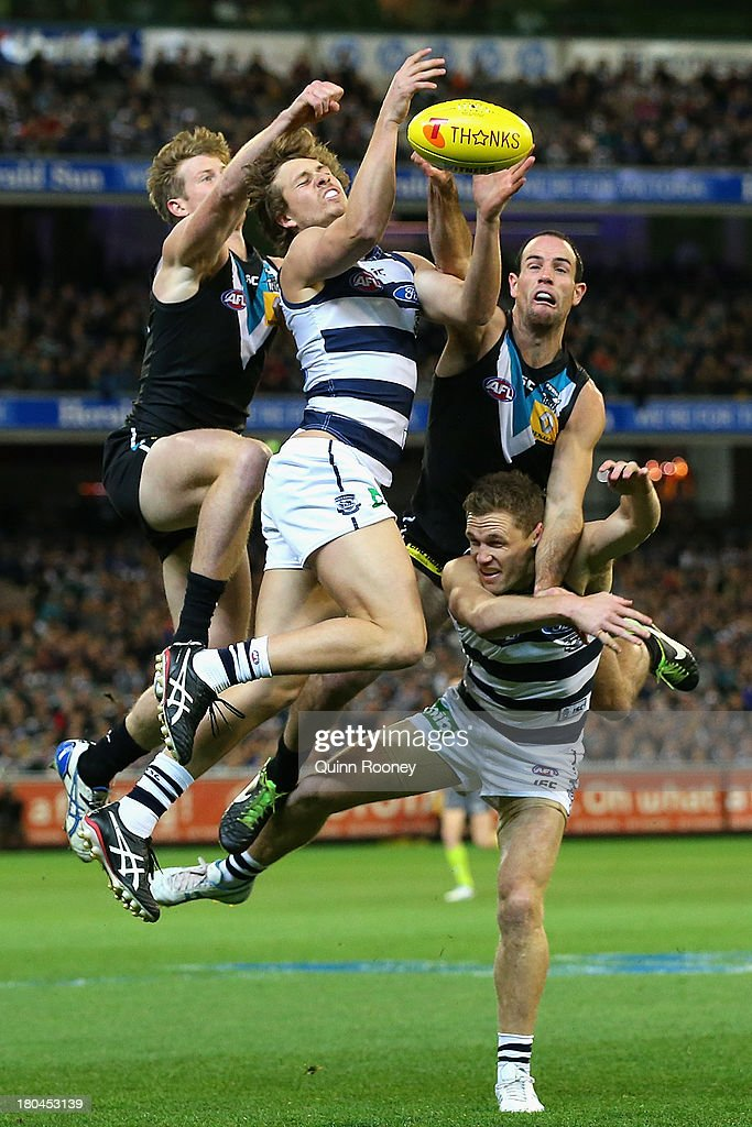 Mitch Duncan of the Cats marks during the Second Semi Final match between the Geelong Cats and the Port Adelaide Power at Melbourne Cricket Ground on September 13, 2013 in Melbourne, Australia.
