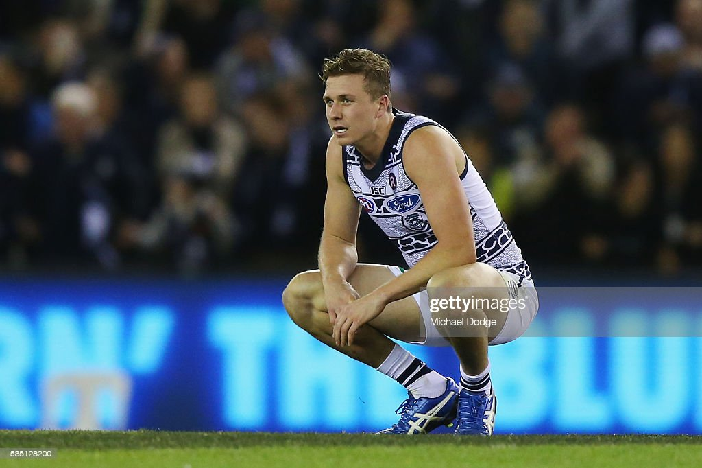 Mitch Duncan of the Cats reacts after defeat during the round 10 AFL match between the Carlton Blues and the Geelong Cats at Etihad Stadium on May 29, 2016 in Melbourne, Australia.