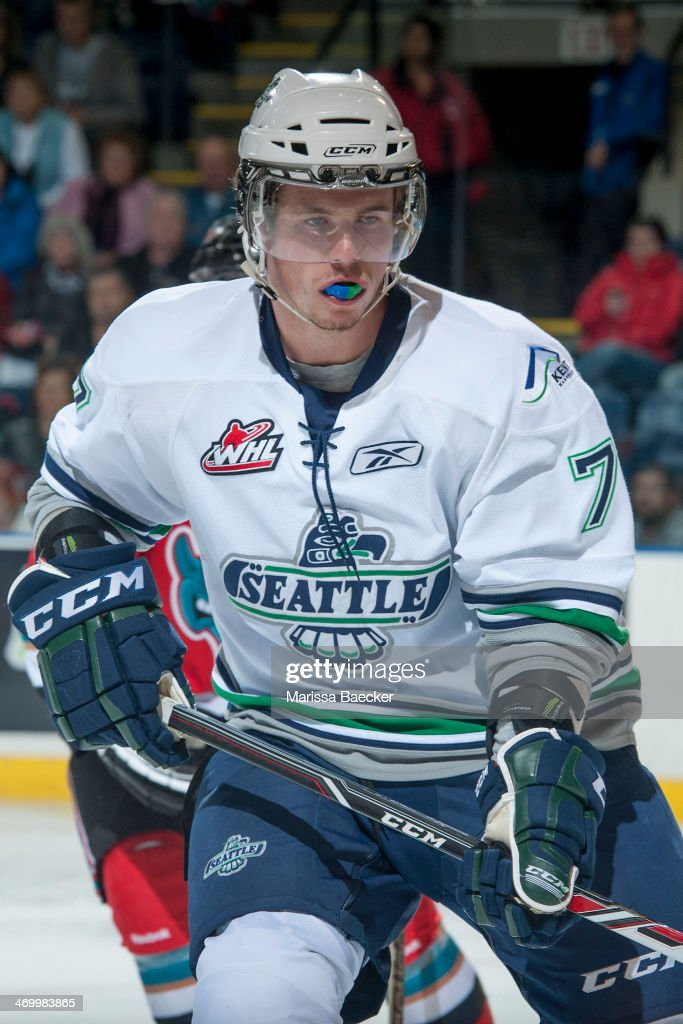 Mitch Elliot #7 of the Seattle Thunderbirds skates against the Kelowna Rockets on October 11, 2013 at Prospera Place in Kelowna, British Columbia, Canada