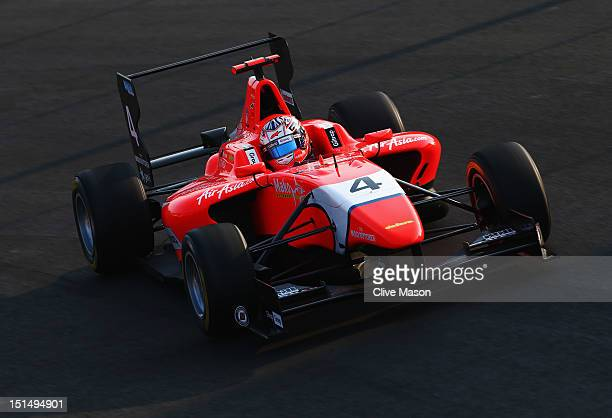 Mitch Evans of MW Arden team drives in the GP3 series prior to practice for the Italian Formula One Grand Prix at the Autodromo Nazionale di Monza on...