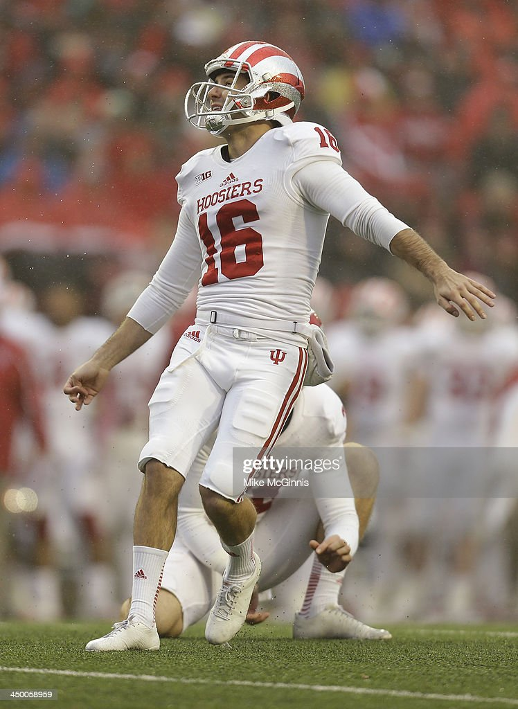 Mitch Ewald #16 of the Indiana Hoosiers kicks a field goal during the second half of play against the Wisconsin Badgers at Camp Randall Stadium on November 16, 2013 in Madison, Wisconsin.