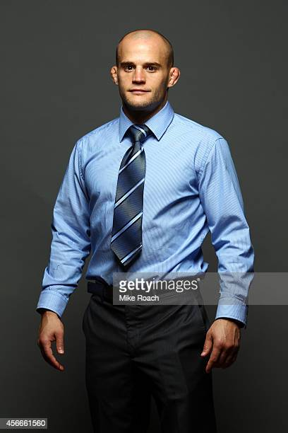 Mitch Gagnon of Canada poses for a postfight portrait backstage during the UFC Fight Night event at the Scotiabank Centre on October 4 2014 in...