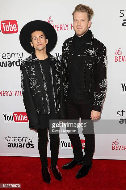 Mitch Grassi and Scott Hoying of Supefruit arrive at the 2016 Streamy Awards at The Beverly Hilton Hotel on October 4 2016 in Beverly Hills California