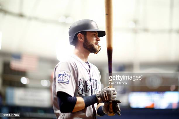 Mitch Haniger of the Seattle Mariners makes his way out of the dugout to bat against pitcher Blake Snell of the Tampa Bay Rays during the fifth...
