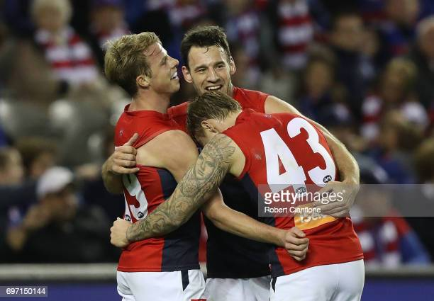 Mitch Hannan of the Demons celebrates after scoring a goal during the round 13 AFL match between the Western Bulldogs and the Melbourne Demons at...