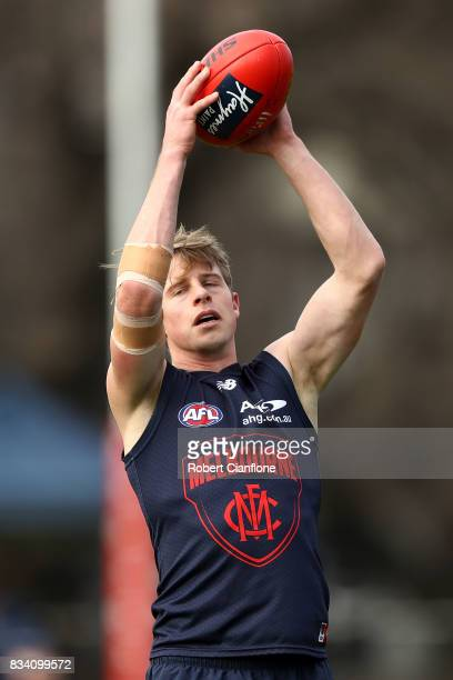 Mitch Hannan takes a mark during a Melbourne Demons AFL training session at Gosch's Paddock on August 18 2017 in Melbourne Australia