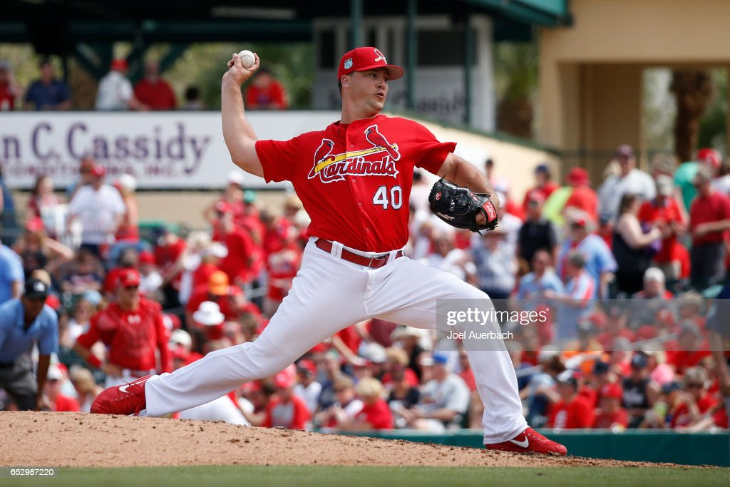 Mitch Harris #40 of the St Louis Cardinals throws the ball against the Houston Astros in the seventh inning during a spring training game at Roger Dean Stadium on March 13, 2017 in Jupiter, Florida. The Cardinals defeated the Astros 6-3.