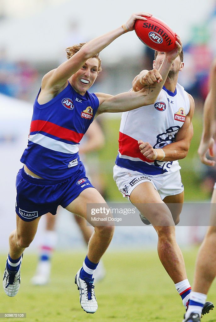 Mitch Honeychurch of the Bulldogs grabs the ball from Marcus Adams during the Western Bulldogs AFL intra-club match at Whitten Oval on February 13, 2016 in Melbourne, Australia.