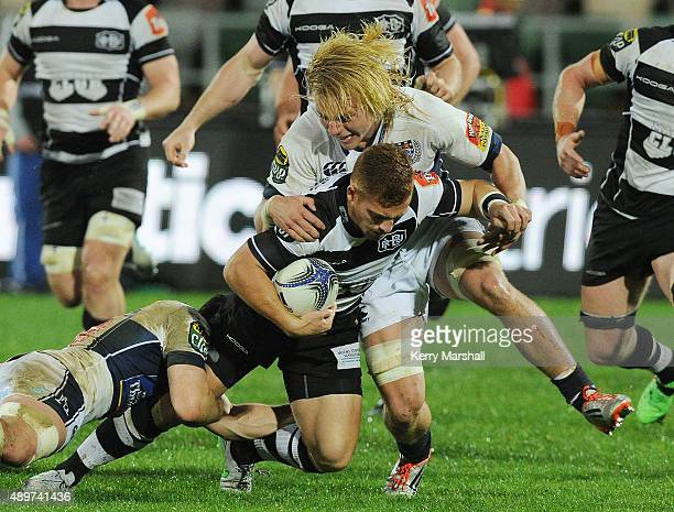 Mitch Karpik of Auckland brings down Ihaia West of Hawkes Bay during the ITM Cup match between Hawke's Bay and Auckland at McLean Park on September...