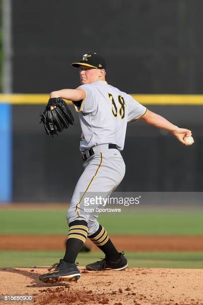 Mitch Keller of the Marauders delivers a pitch to the plate during the Florida State League game between the Bradenton Marauders and the Dunedin Blue...