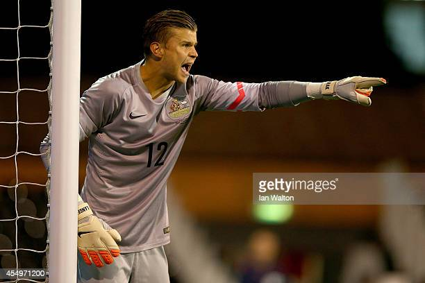 Mitch Langerak of Australia in action during the International Friendly match between Saudi Arabia v Australia at Craven Cottage on September 8 2014...