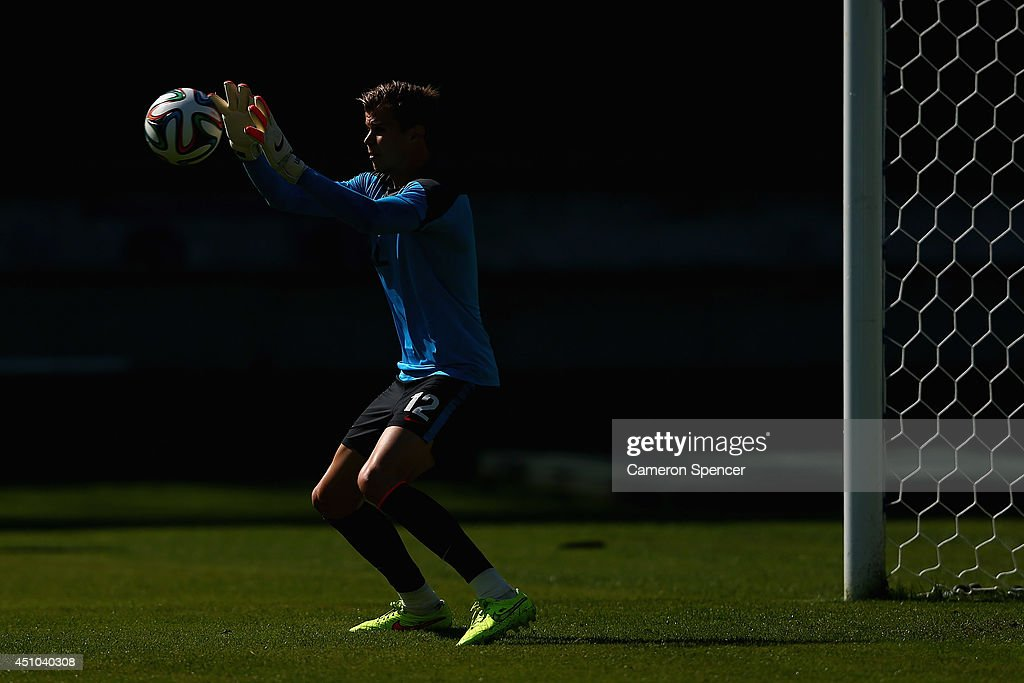Mitch Langerak of the Socceroos goal-keeps during an Australian Socceroos training session and press conference at Estadio Couto Pereira on June 22, 2014 in Curitiba, Brazil.