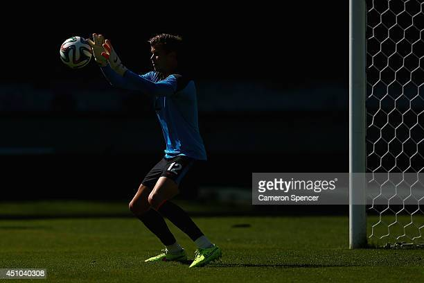 Mitch Langerak of the Socceroos goalkeeps during an Australian Socceroos training session and press conference at Estadio Couto Pereira on June 22...
