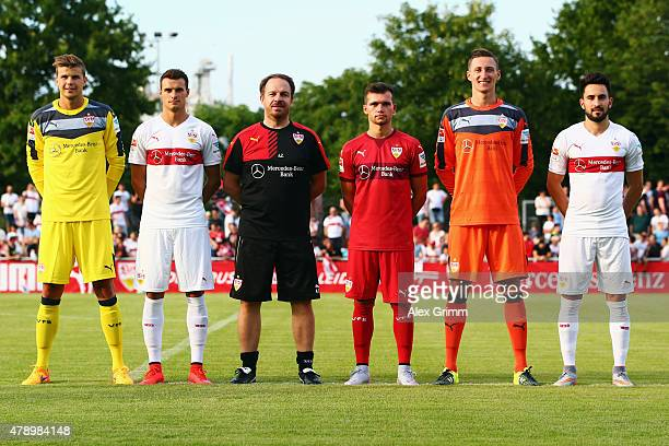 Mitch Langerak Philip Heise head coach Alexander Zorniger Kevin Stoeger Przemyslaw Tyton and Lukas Rupp pose after the first training session of VfB...