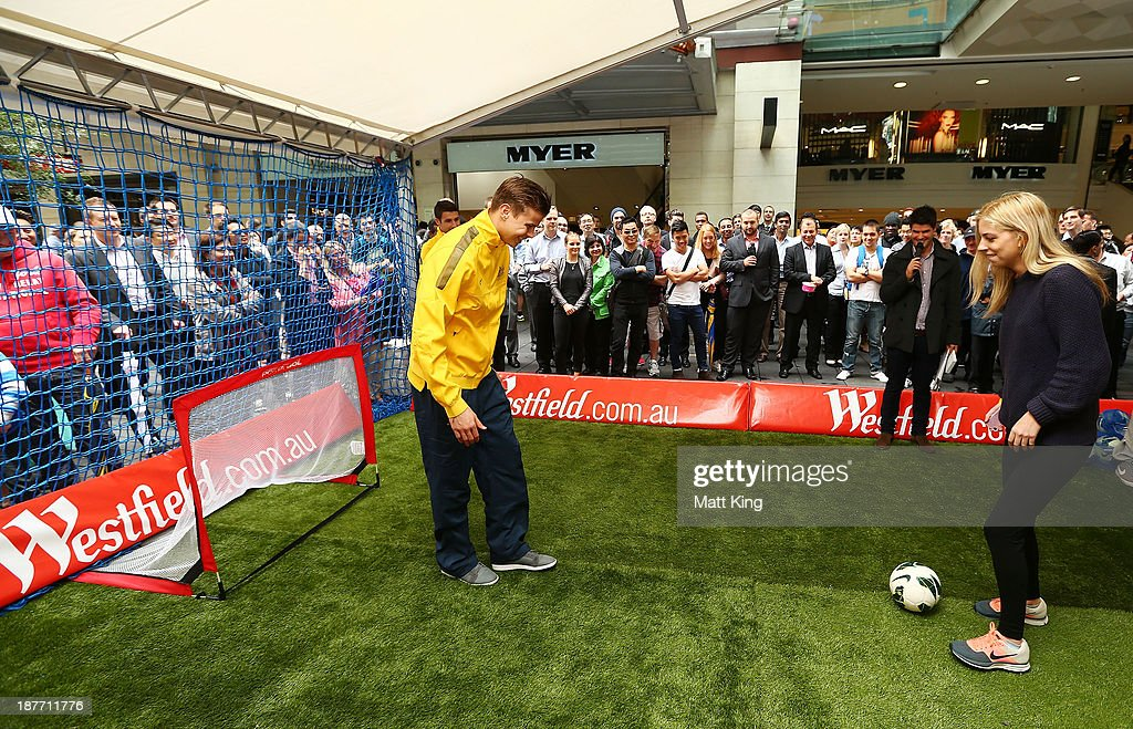 Mitch Langerak takes part in a fan competition during an Australian Socceroos public appearance at Westfield Sydney on November 12, 2013 in Sydney, Australia.