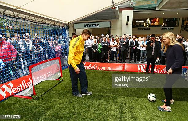 Mitch Langerak takes part in a fan competition during an Australian Socceroos public appearance at Westfield Sydney on November 12 2013 in Sydney...