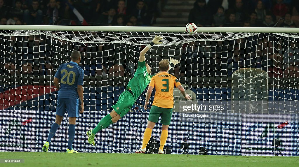 Mitch Langerak, the Australia keeper is beaten by an effort from <a gi-track='captionPersonalityLinkClicked' href=/galleries/search?phrase=Olivier+Giroud&family=editorial&specificpeople=5678034 ng-click='$event.stopPropagation()'>Olivier Giroud</a> during the International Friendly match between France and Australia at Parc des Princes on October 11, 2013 in Paris, France.