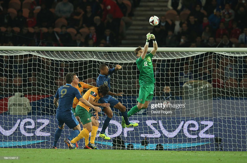 Mitch Langerak, the Australia keeper punches the ball clear during the International Friendly match between France and Australia at Parc des Princes on October 11, 2013 in Paris, France.