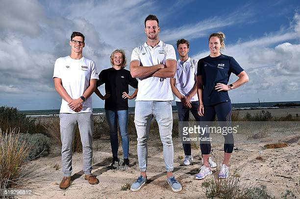 Mitch Larkin Jessica Ashwood James Magnussen Thomas FraserHolmes and Emily Seebohm pose for a photo during the Arena Powerskin CarbonUltra Racing...