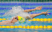 Mitch Larkin of Australia competes in the Men's 200m Backstroke Semifinals on day thirteen of the 16th FINA World Championships at the Kazan Arena on...