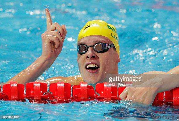 Mitch Larkin of Australia reacts after competing in the Men's 100m Backstroke Semifinal on day ten of the 16th FINA World Championships at the Kazan...